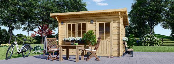 Caseta de jardín de madera con tejado plano DREUX (44 mm), 5x4 m, 20 m²