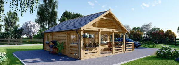 Caseta de madera habitable ANGERS (44+44 mm, aislada), 36 m²