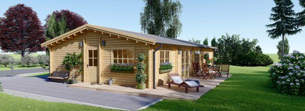 Casa de madera para vivir LIMOGES (Aislada PLUS, 44+44 mm), 103 m²