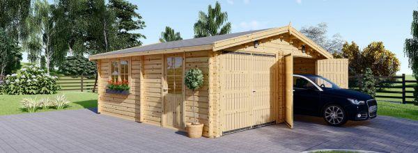 Garaje de madera DOBLE (44 mm), 6x6 m, 36 m²