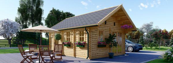 Caseta de madera habitable SCOOT (44+44 mm, aislada), 27 m²+10 m²