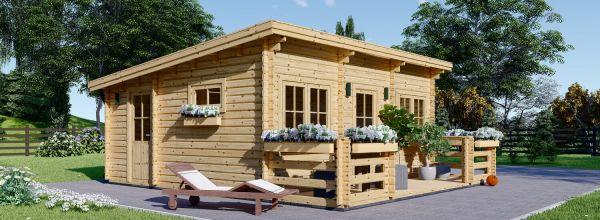 Casa de jardín con tejado plano y porche ALTURA (44 mm), 31m² + 8 m²