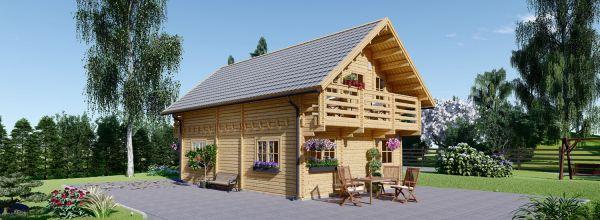 Casa de madera LANGON (Aislada, 44+44 mm), 95 m²