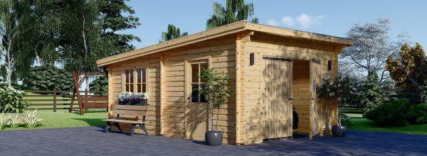 Garaje de madera de techo plano MODERN (44 mm), 4x6 m, 24 m²