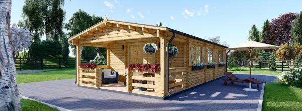 Casa de madera para vivir HYMER (Aislada PLUS, 44+44 mm), 42 m² + 10 m² porche