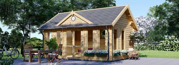 Caseta de jardín de madera CLOCKHOUSE (Aislada, 44+44 mm), 5.5x4 m, 22 m²