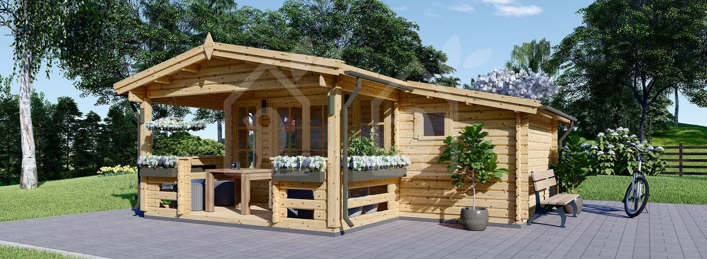 Caseta de madera ISLA (44 mm), 18 m² + 7m² porche visualization 1