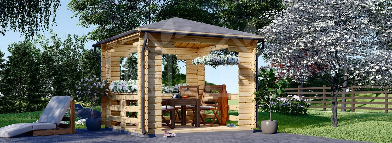 Cenador de madera para jardín (44 mm), 3x3 m, 9 m² visualization 1