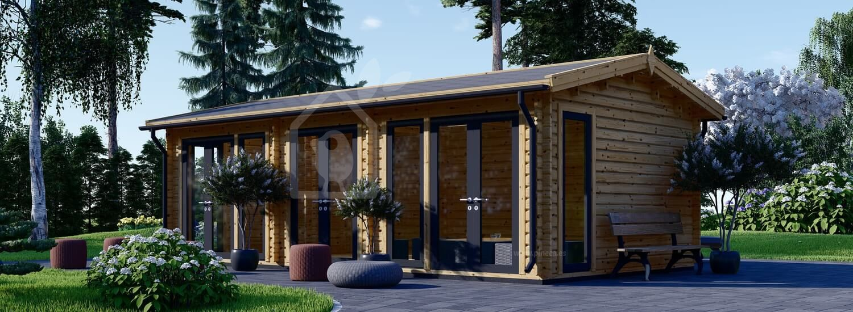 Caseta de madera MARION (Aislada, 44+44 mm), 7.5x4 m, 30 m² visualization 1