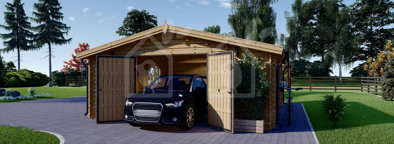Garaje de madera 600x600 44 mm, 36 m² visualization 3