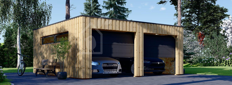 Garaje de madera doble de techo plano STELA DUO F (estructura de madera), 6x6 m, 36 m² visualization 1
