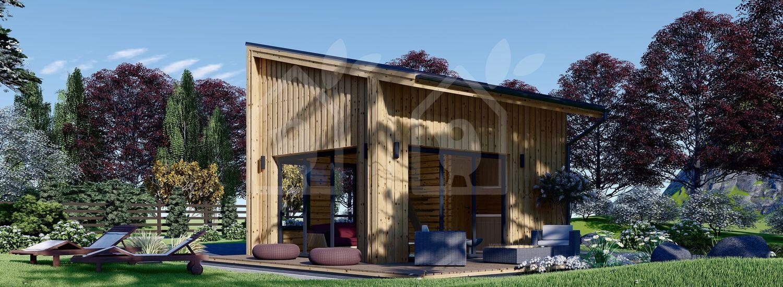 Caseta de madera habitable SOPHIA (Aislada, 44 mm + revestimiento), 20 m² visualization 1
