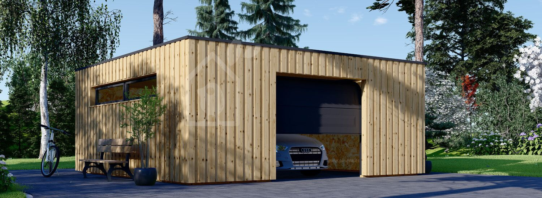 Garaje de madera de techo plano STELA F (estructura de madera), 6x6 m, 36 m² visualization 1
