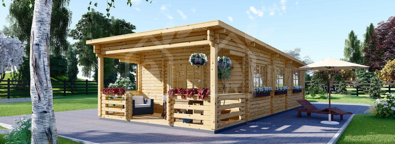 Casa de madera HYMER de tejado plano (66 mm), 42 m² visualization 1