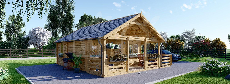 Caseta de madera habitable ANGERS (44+44 mm, aislada), 36 m² visualization 1