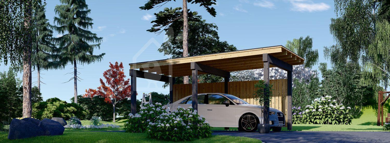 Cochera de madera LUNA F, 3.2x6 m, con pared lateral visualization 1