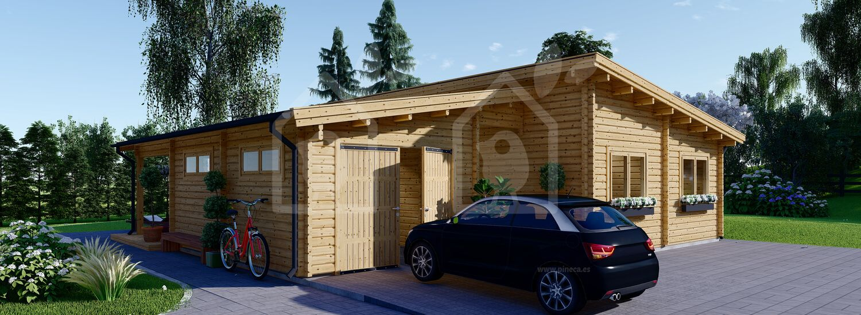 Casa de madera de tejado plano con garaje BERTA (44+44 mm), 72 m² + 20 m² (garaje) visualization 1