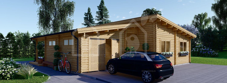 Casa de madera de tejado plano con garaje BERTA (66 mm), 72 m² + 20 m² (garaje) visualization 1