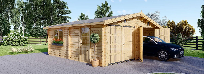 Garaje de madera DOBLE (44 mm), 6x6 m, 36 m² visualization 1