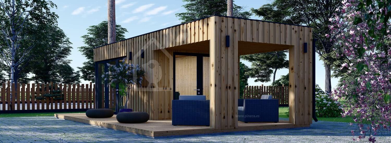 Oficina prefabricada de madera PREMIUM (Aislada, peneles SIP), 5x3 m, 15 m² con porche 3x3 m, 9 m² visualization 1