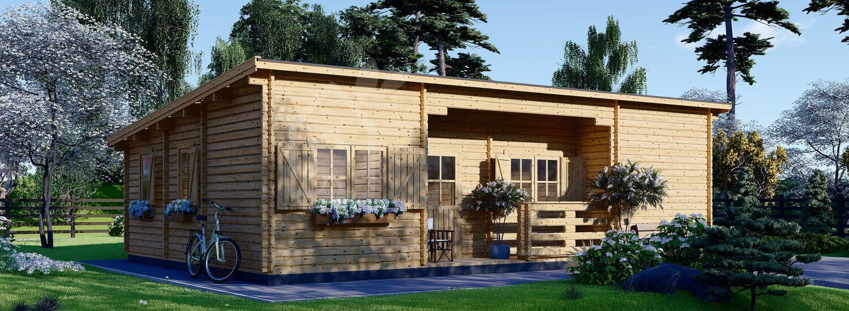 Casa de madera de tejado plano para vivir UZES F (Aislada PLUS, 44+44 mm), 70 m² visualization 1
