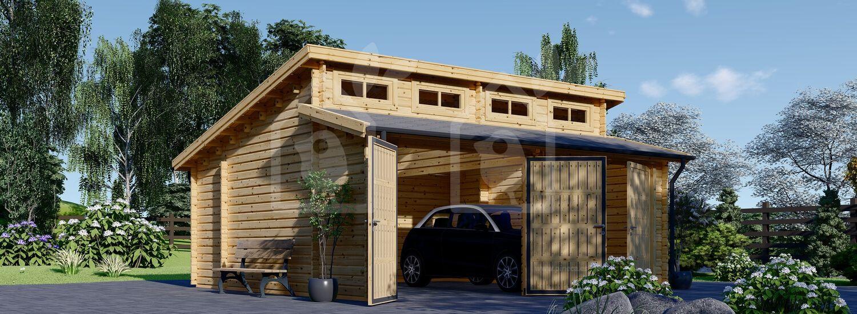 Garaje de madera DOBLE TWIN (44 mm), 6x6 m, 36 m² visualization 1