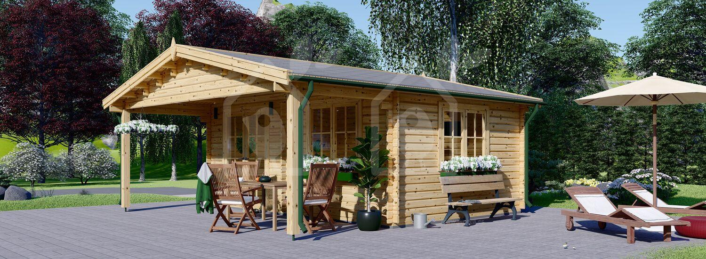 Caseta de jardín de madera CAMILA (Aislada, 44+44 mm), 6x6 m, 36 m² visualization 1