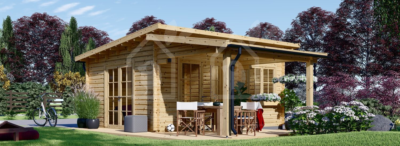 Caseta de madera HELEN (44 mm), 6x4 m, 24 m² + 12,5 m² porche visualization 1