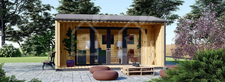 Oficina prefabricada para jardín TINA (44 mm + revestimiento), 5.5x5 m, 22 m² visualization 1