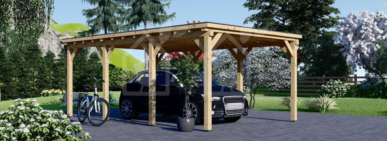 Cochera de madera MODERN, 3x6 m visualization 1