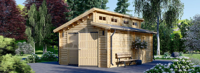 Garaje de madera TWIN (44 mm), 4x6 m, 24 m² visualization 1