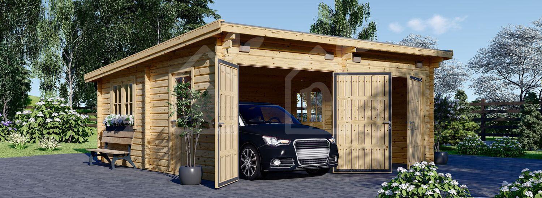 Garaje de madera de tejado plano DOBLE MODERN (44 mm), 6x6 m, 36 m² visualization 1