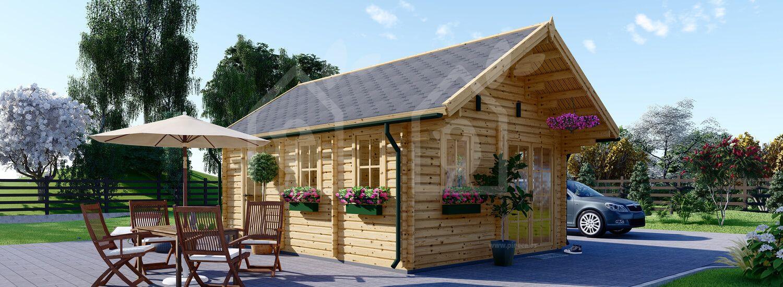 Caseta de madera habitable SCOOT (44+44 mm, aislada), 27 m²+10 m² visualization 1