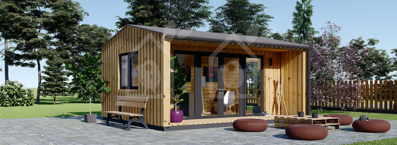 Oficina prefabricada para jardín TINA (Aislada, 44 mm + revestimiento), 4x4 m, 12 m² visualization 1
