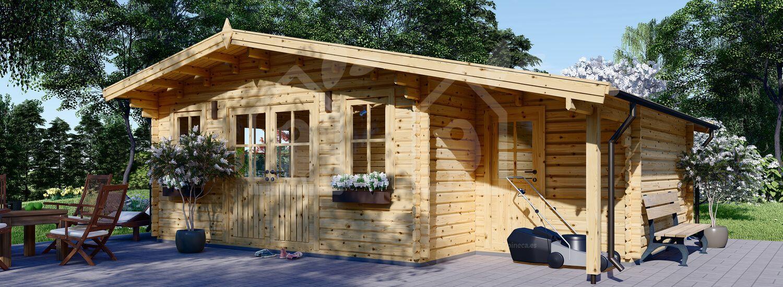 Cabaña de madera para jardín CLARA (44 mm), 28 m² visualization 1
