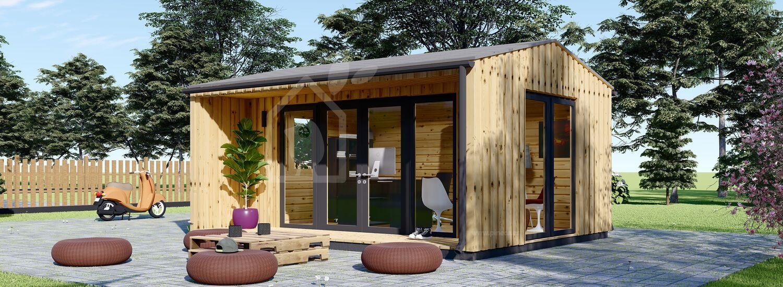 Oficina prefabricada para jardín TINA (44 mm + revestimiento), 5x4 m, 15 m² visualization 1