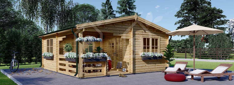 Casa de jardín de madera con porche OLIVIA (66 mm), 6x6 m, 27 m² + 8 m² porche visualization 1