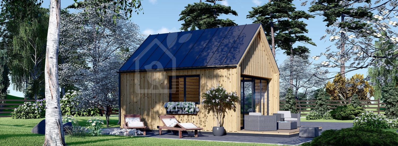 Caseta de madera habitable SALLY (44 mm + revestimiento, aislada), 20 m² visualization 1