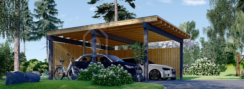 Cochera de madera double LUNA DUO F, 6x6 m, con pared en forma de L visualization 1