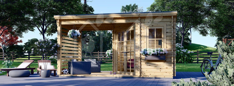 Caseta de jardín de madera con porche AIDA PLUS (28 mm), 5x3 m, 9 m² + 6.5 m² visualization 1