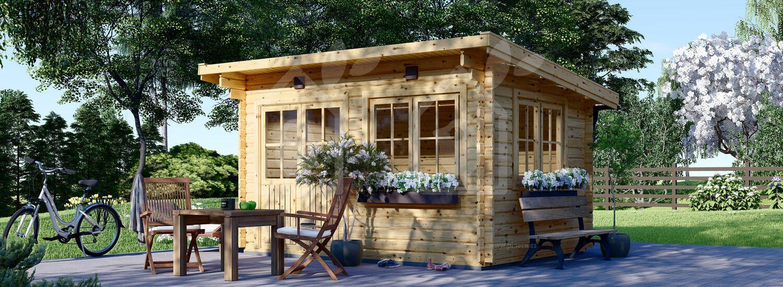Caseta de jardín de madera LILLE con tejado plano (44 mm), 4x3 m, 12 m² visualization 1