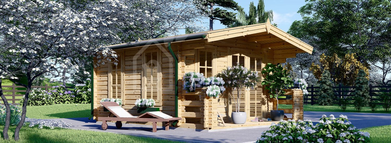 Caseta de jardín de madera KING (Aislada, 44+44 mm), 4x5 m, 20 m² visualization 1