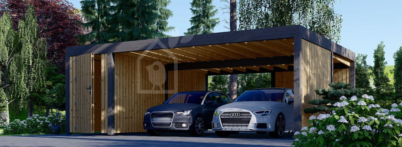 Cochera de madera doble con cobertizo y pared lateral LUNA DUO F PLUS, 7,6x5,6 m visualization 1