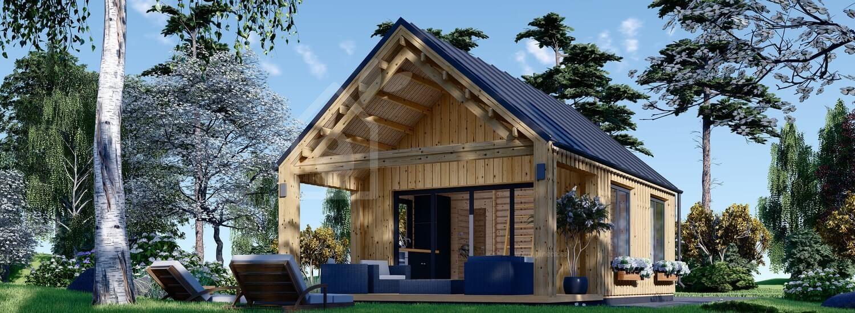 Casa de madera AGATA (44 mm + revestimiento), 39 m² visualization 1