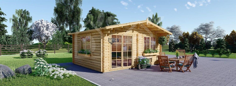 Caseta de jardín de madera WISSOUS (Aislada, 44+44 mm), 5x3 m, 15 m² visualization 1