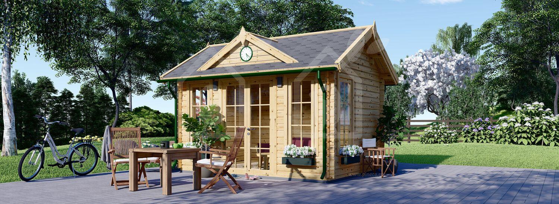 Caseta de jardín de madera CLOCKHOUSE (Aislada, 44+44 mm), 4x3 m, 12 m² visualization 1