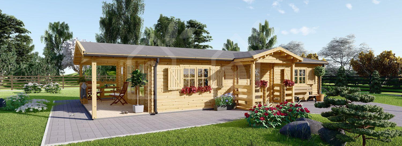 Casa de madera con porche DONNA (44 mm), 63 m² + 11.5 m² visualization 1