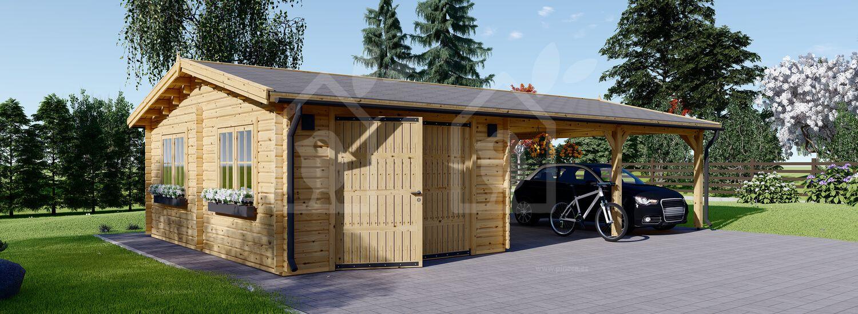 Garaje de madera con cochera (44 mm), 4x6 m + 5.5x6 m (cochera), 57 m² visualization 1