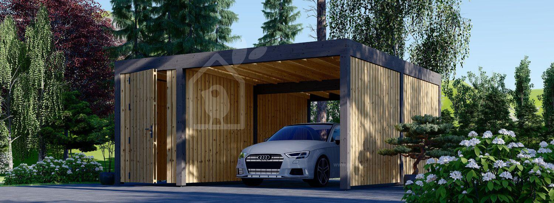 Cochera de madera con cobertizo y pared lateral LUNA F PLUS, 4,9x5,6 m visualization 1