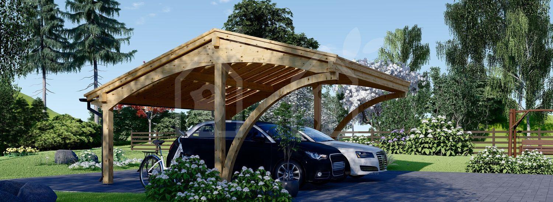Cochera de madera double CORA DUO, 5.9x5.9 m, 34.8 m² visualization 2